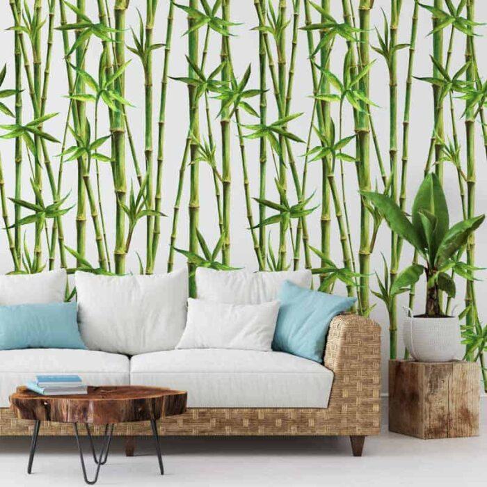 Fotobehang Bamboe aquarel patroon