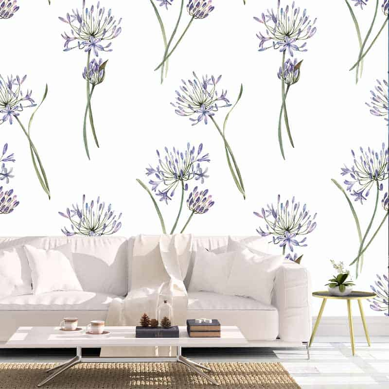 Fotobehang Allium aquarel patroon
