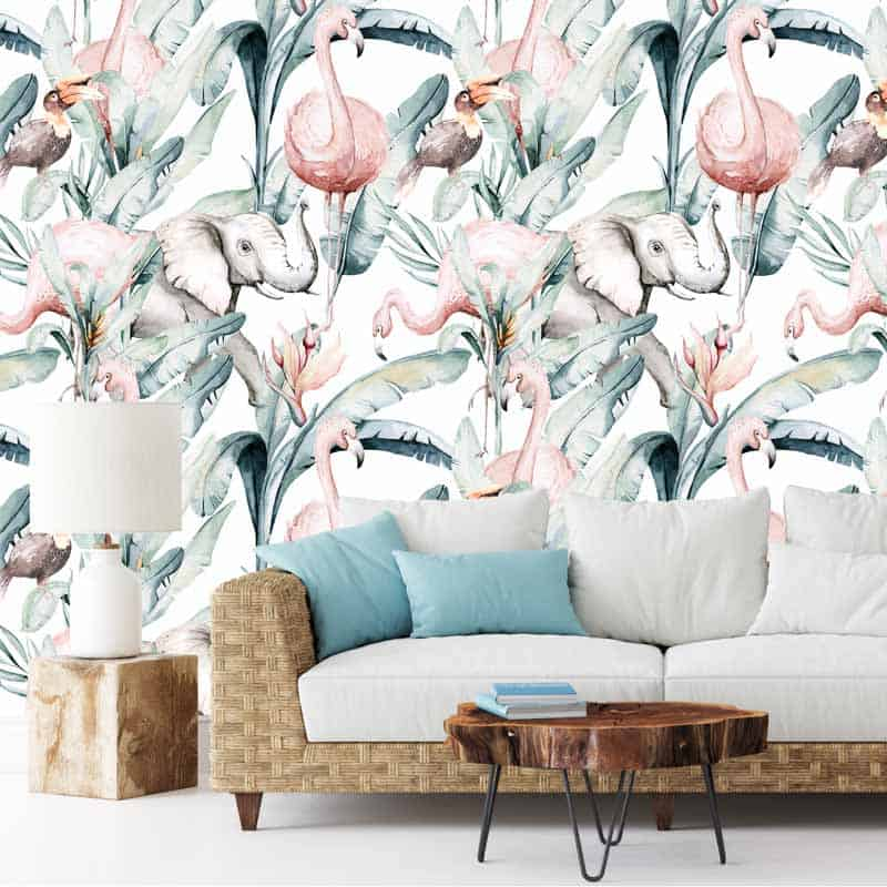 Fotobehang Olifant toekan flamingo in aquarel