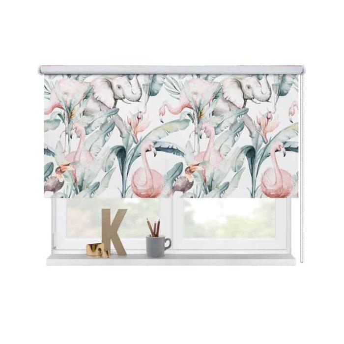 Rolgordijn Olifant toekan flamingo in aquarel