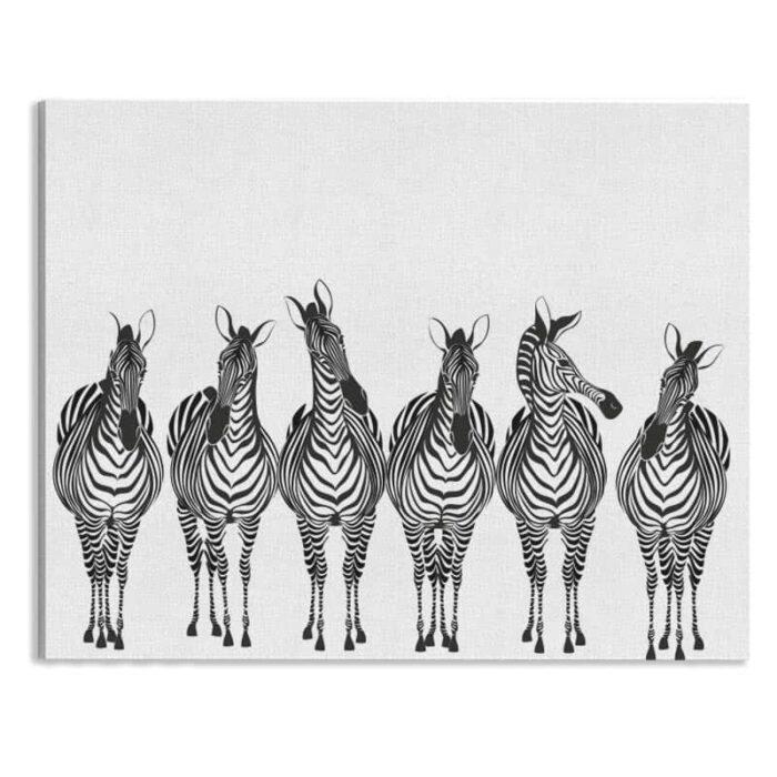 Canvas Getekende Zebra's op rij wit