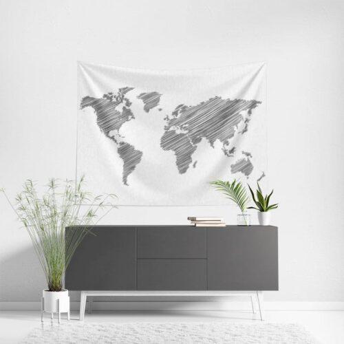 Wanddoek Wereldkaart gestreept