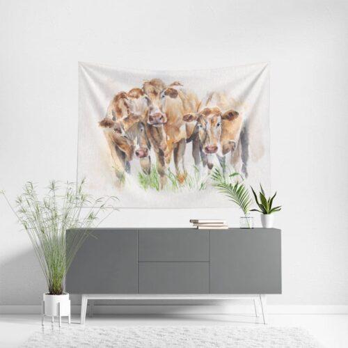 Wanddoek Koeien in aquarel