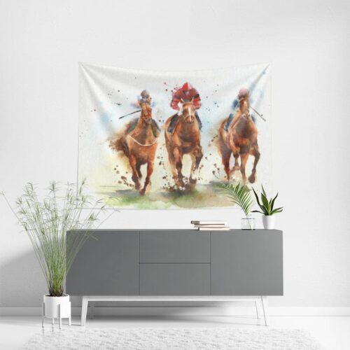 Wanddoek Renpaarden in aquarel