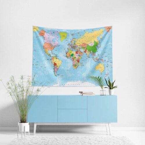 Wanddoek Wereldkaart