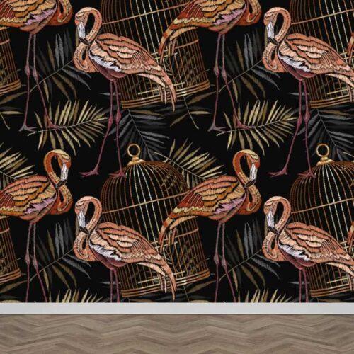 Fotobehang Botanische flamingo patroon