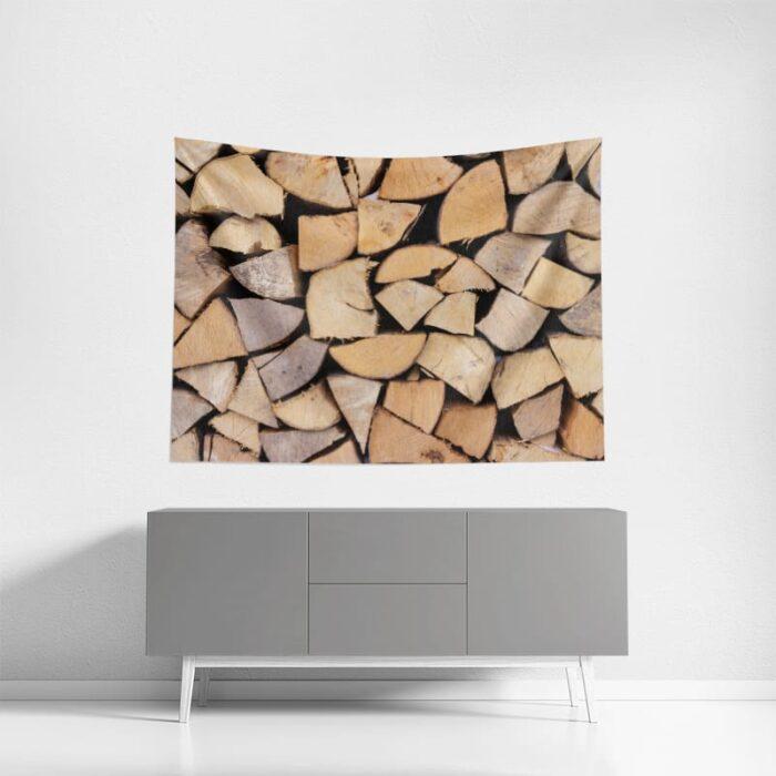 Wanddoek Opgestapeld hout