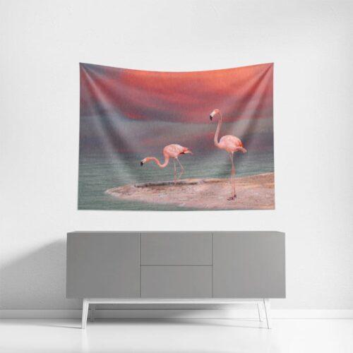 Wanddoek Flamingo's aan de oever