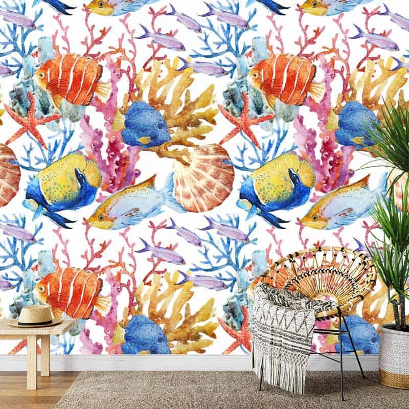 Fotobehang Tropische vissen in aquarel