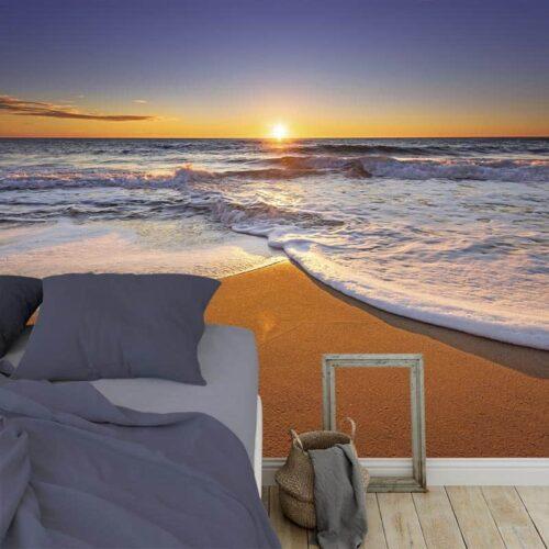 Fotobehang Zonsondergang aan kalme zee