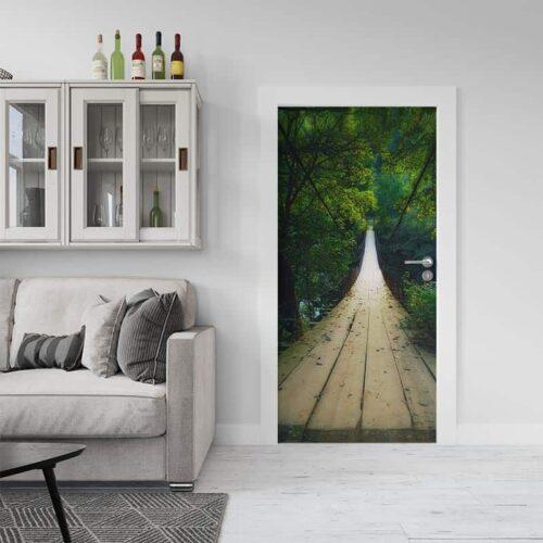 Deursticker Toiuwbrug in regenwoud