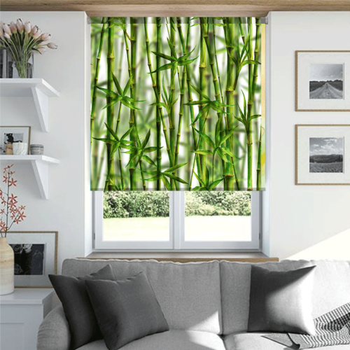 Rolgordijn Bamboe aquarel patroon 2