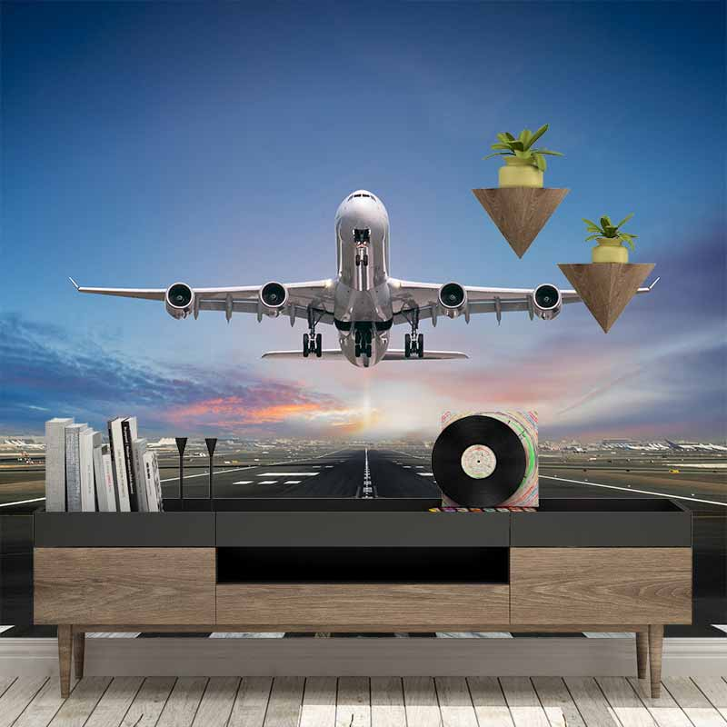 Fotobehang Vliegtuig bij landingsbaan