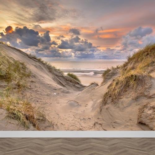 Fotobehang Tussen de duinen naar strand