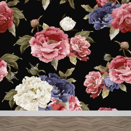Fotobehang Botanische rozen patroon 2
