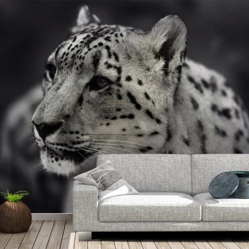 Fotobehang Luipaard zwart wit
