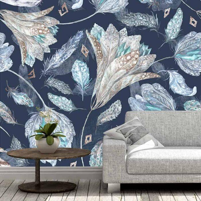Fotobehang Bloemen patroon in blauw