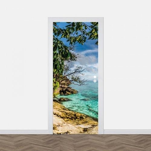 Deursticker Tropische zee panorama