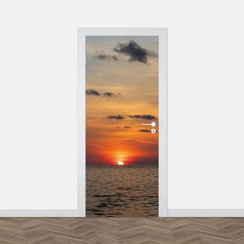 Deursticker Zonsondergang in zee