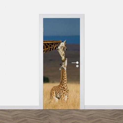 Deursticker Giraf met jong