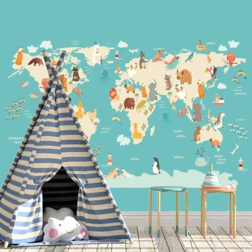 Fotobehang Dieren wereldkaart 3