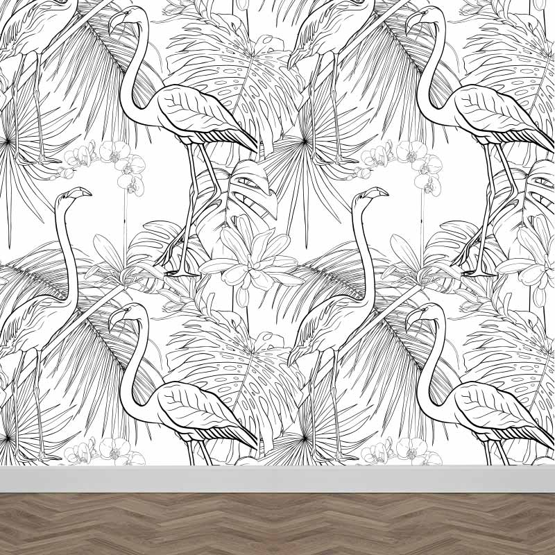 Fotobehang Botanisch flamingo patroon 2