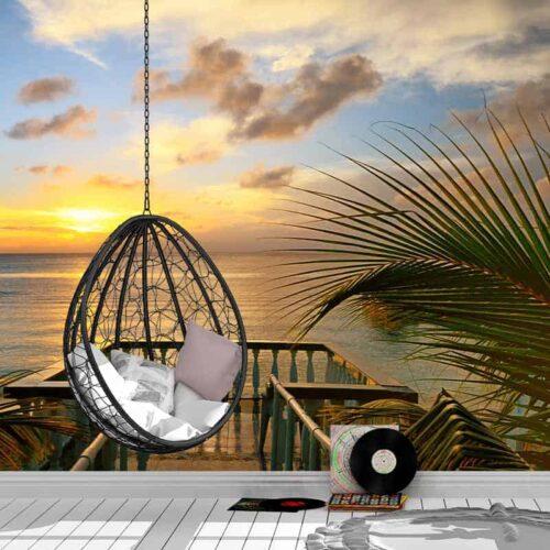 Fotobehang Op de steiger in tropische sfeer