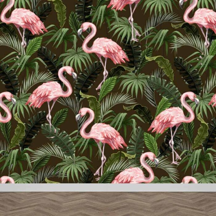 Fotobehang Botanisch flamingo patroon
