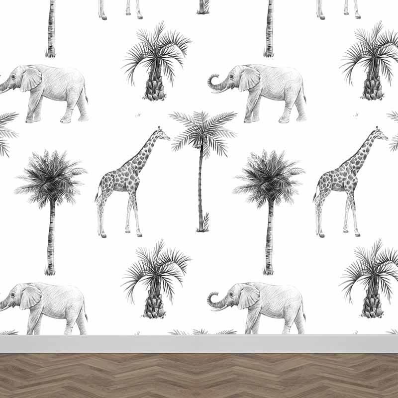 Fotobehang Olifanten en giraffen in grijstinten