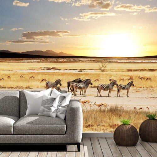 Fotobehang Grazende zebra's en impala's