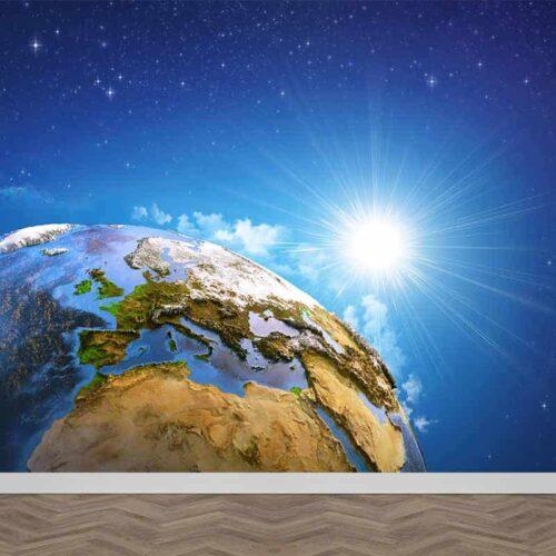 Fotobehang Aarde in de zon