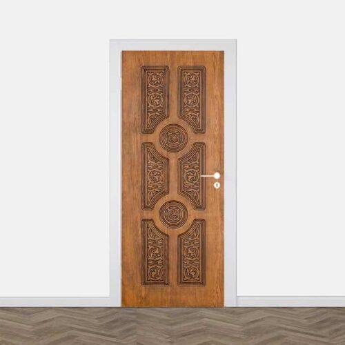 Deursticker Klassiek Aziatisch hout