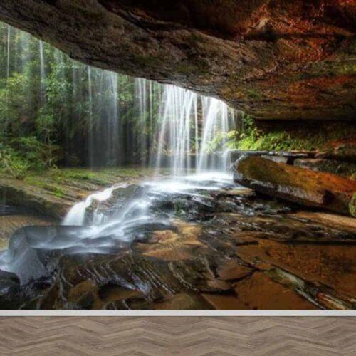Fotobehang Onder de waterval