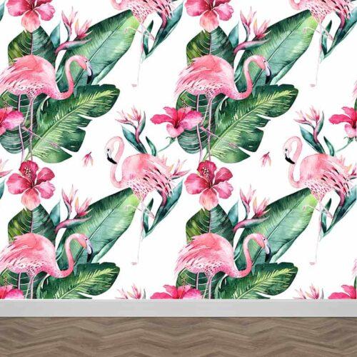 Fotobehang bontanisch flamingo patroon 3