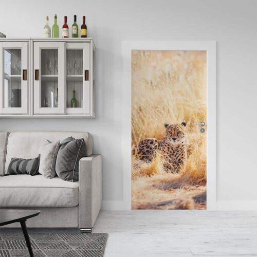 Deursticker Luipaard op wacht