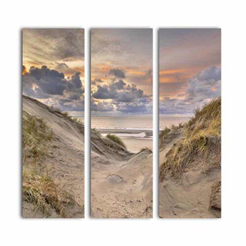 Drieluik canvas Tussen duinen naar strand