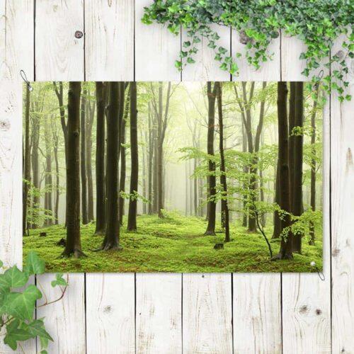 Tuinposter Ochtendwandeling in bos
