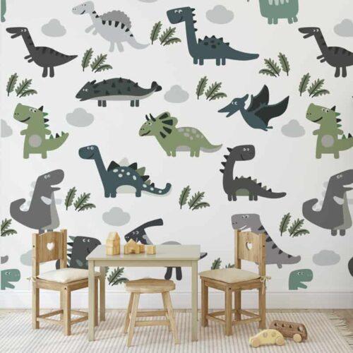 Fotobehang Happy dinosaurus patroon groen bruin
