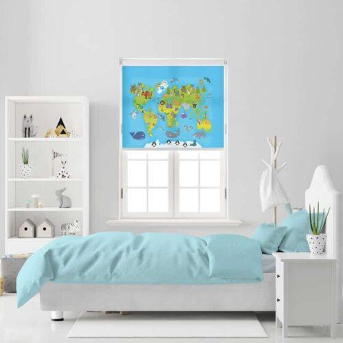 Rolgordijn Vrolijke dieren wereldkaart