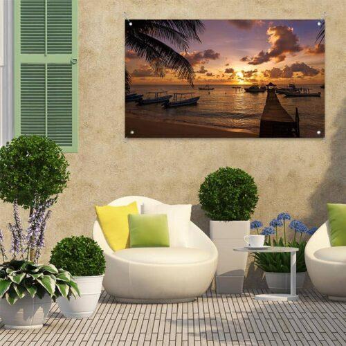 Tuinposter Zonsondergang in baai