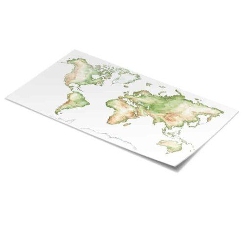 Tafelsticker Wereldkaart in detail