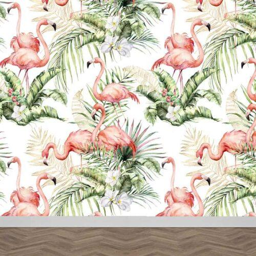 Fotobehang Flamingo jungle patroon