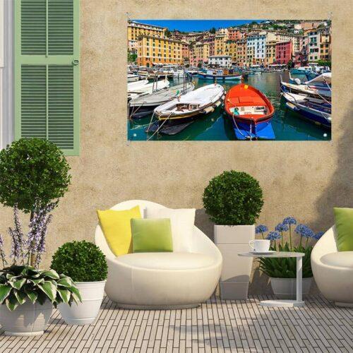Tuinposter Italiaans dorp aan haven