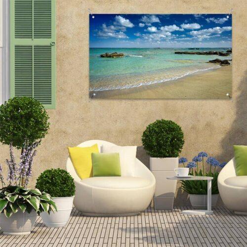 Tuinposter Zomer aan Mediterraans strand