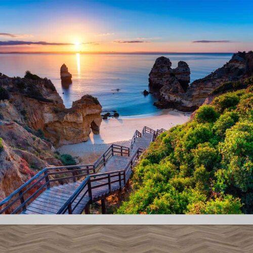 Fotobehang Pad naar Mediterraans strand