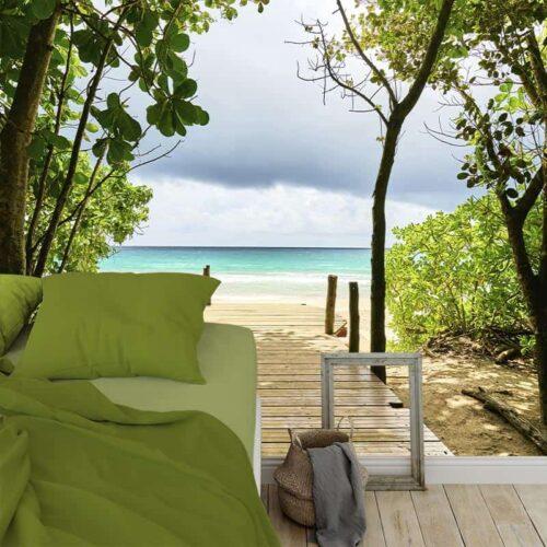 Fotobehang Steiger naar tropisch strand
