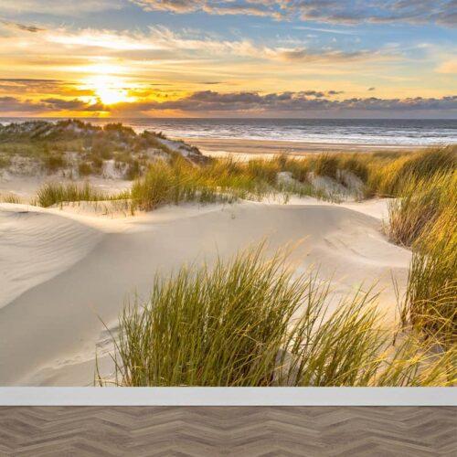 Fotobehang Zee strand duinen in avondschemer