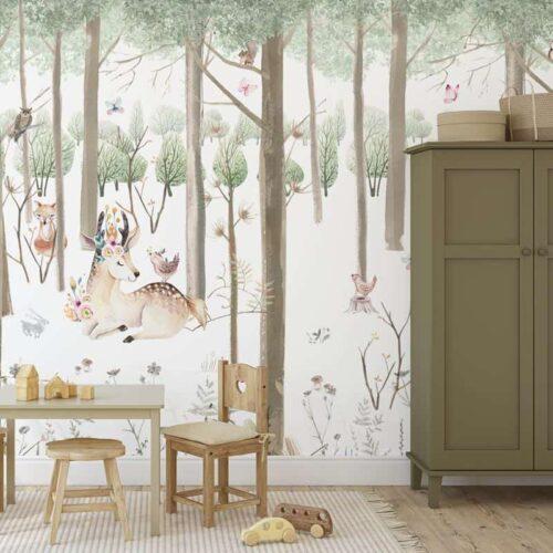 Fotobehang Dieren in bos aquarel