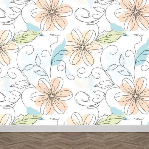 Fotobehang Getekende bloemen patroon 2