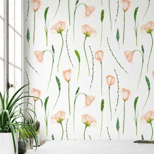 Fotobehang Aquarel tulpen patroon